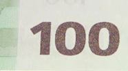 100 eur Colour-changing number changed
