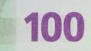 100 eur Colour-changing number