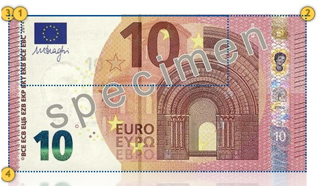 Europa Series €10 banknote. Additional security features