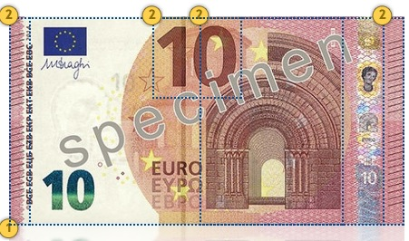 Europa Series €10 banknote. Feel.