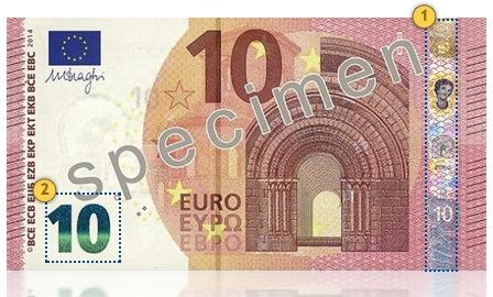 Europa Series €10 banknote. Tilt.