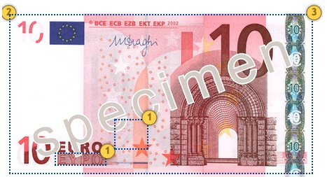 The first series €10 banknote. Additional 10 eur security features