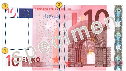 The first series €10 banknote. Look.