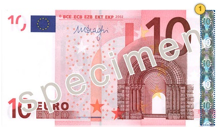 The first series €10 banknote. Tilt.