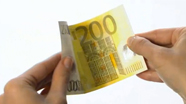 200 eur banknote crisp and firm.