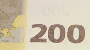 200 eur Colour-changing number changed