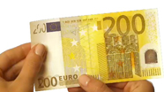 Run your finger across 200 eur banknote bottom