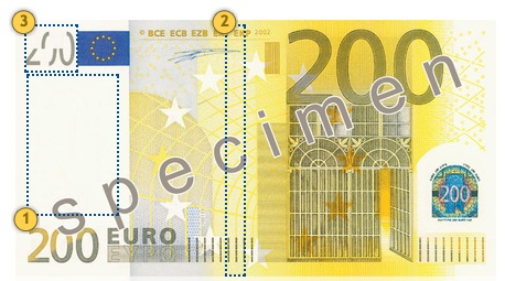 Look at the banknote 200 eur