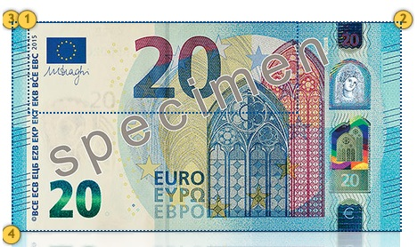 Europa Series €20 banknote. Additional features.