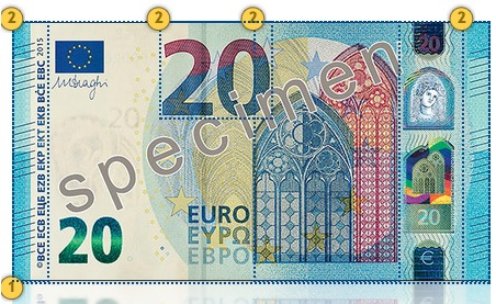 Europa Series €20 banknote. Feel.