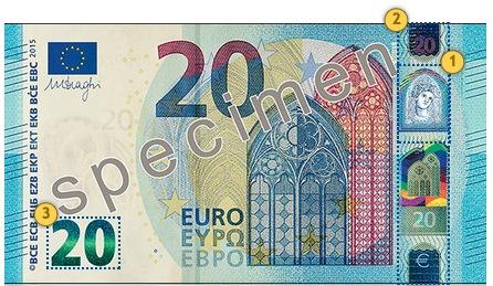 New 20 eur banknote. Tilt.