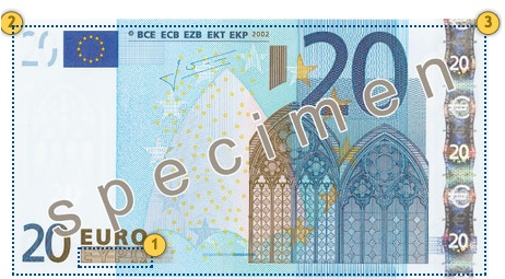 The first series €20 banknote. Additional features.