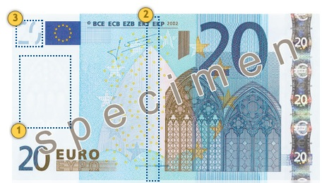 The first series €20 banknote. Look.