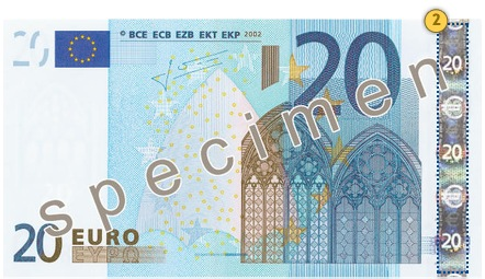 The first series €20 banknote. Tilt.