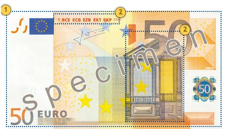 The first series €50 banknote. Feel.