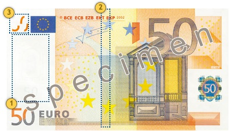 Look at the banknote 50 eur