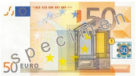 Tilt the banknote 50 eur
