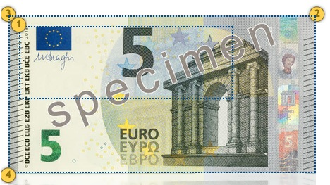 Europa Series €5 banknote. Additional features.