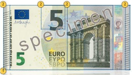 New Europa Series 5 euro banknote. Feel