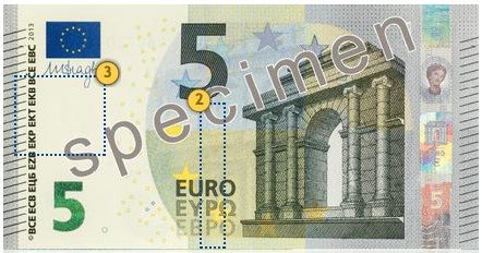 Europa Series €5 banknote. Look.