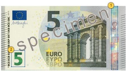 Europa Series €5 banknote. Tilt.