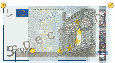 The first series €5 banknote. Additional features.