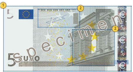 The first series €5 banknote. Feel.