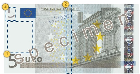 The first series €5 banknote. Look.