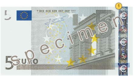 The first series €5 banknote. Tilt