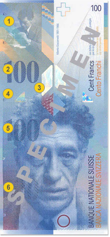 100 Swiss francs security features - Front