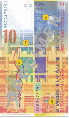 10 Swiss francs security features - Back