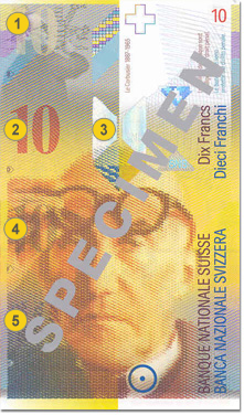 10 Swiss francs security features - Front