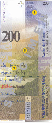 200 Swiss francs security features - Back