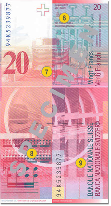 20 Swiss francs security features - Back