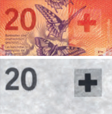20 new Swiss francs Infrared properties