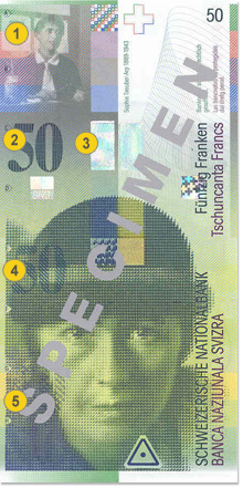 50 Swiss francs security features - Front