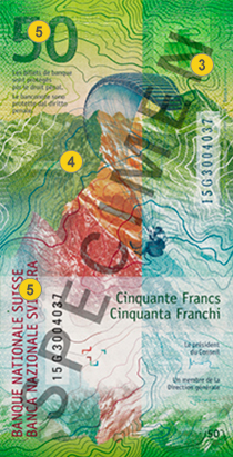 50 new Swiss francs security features - Back