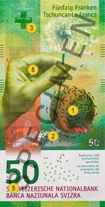 50 new Swiss francs security features - Front