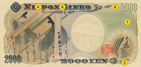 2,000 JPY security features - Back