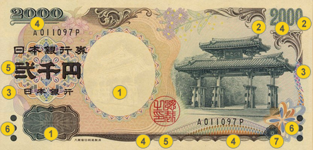 2,000 JPY security features - Front